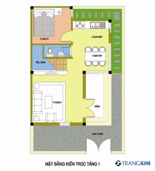 1-Copy1 Tư vấn thiết kế kiến trúc nhà 2 tầng mái bằng 7.5x9.5 m
