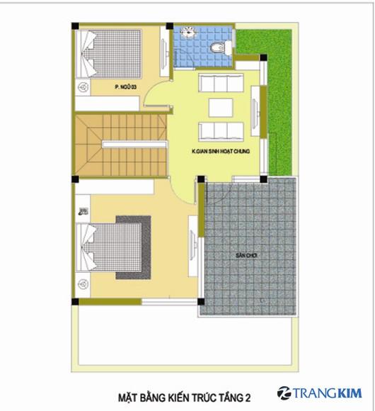 2-Copy1 Tư vấn thiết kế kiến trúc nhà 2 tầng mái bằng 7.5x9.5 m