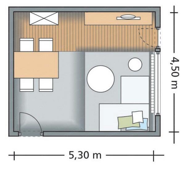 phan-chia-phong-khach-phong-an-24m2-2 Bài trí hợp lý cho phòng khách và phòng ăn 24m2