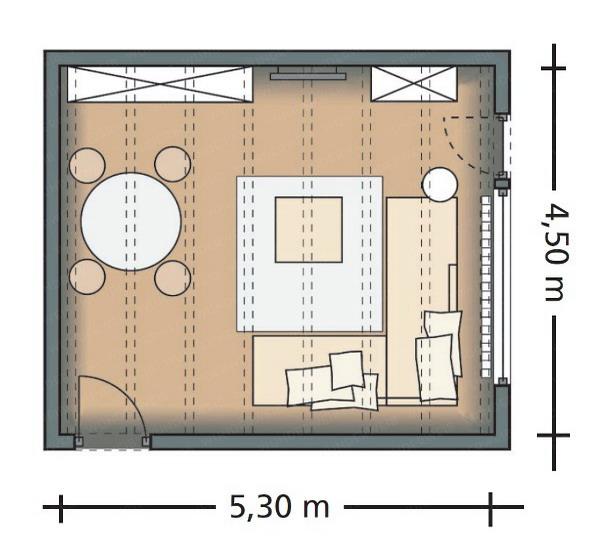 phan-chia-phong-khach-phong-an-24m2-9 Bài trí hợp lý cho phòng khách và phòng ăn 24m2