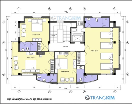 Bản vẽ mặt bằng thiết kế kiến trúc khách sạn hiện đại 3