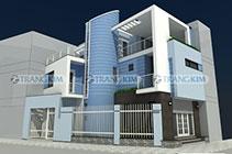 Thiết kế Kiến trúc biệt thự phố 3 tầng 1 tum – Chị Yến