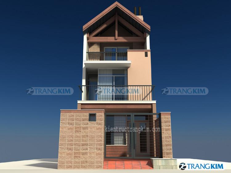 Thiết kế kiến trúc nhà ống 3 tầng mái chéo – Hà Nội