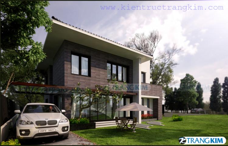 Thiết kế kiến trúc biệt thự nhà vườn 2,5 tầng – Thái Nguyên