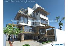 Thiết kế kiến trúc biệt thự hiện đại 4 tầng – Anh Hiền – Hà Nội