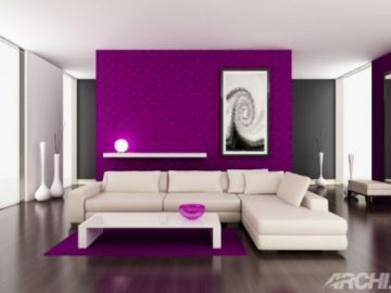 Gam màu nóng trang trí phòng khách