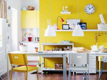 Kết hợp màu vàng tạo sức sống cho không gian
