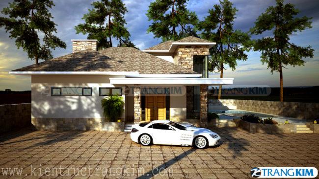 Hìnhảnh phối cảnh thiết kế kiến trúc biệt thự 2 tầng có bể bơi 2