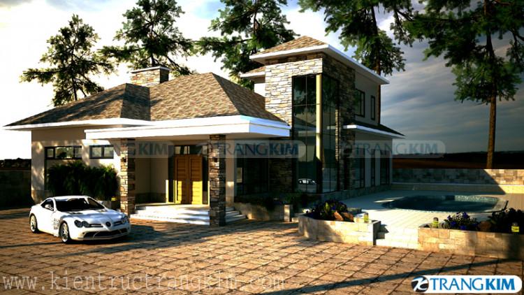 Hìnhảnh phối cảnh thiết kế kiến trúc biệt thự 2 tầng có bể bơi 3