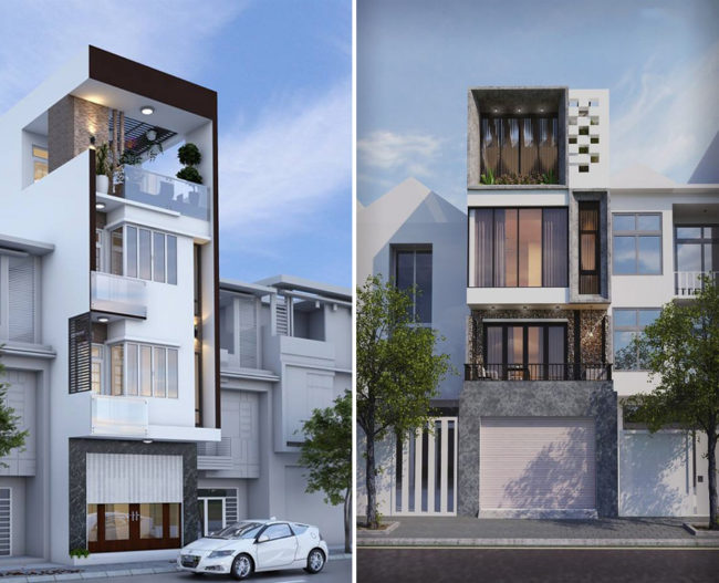 Một số hình ảnh tham khảo phối cảnh kiến trúc nhà ống 3 tầng , 4 tầng , 5 tầng hiện đại 5