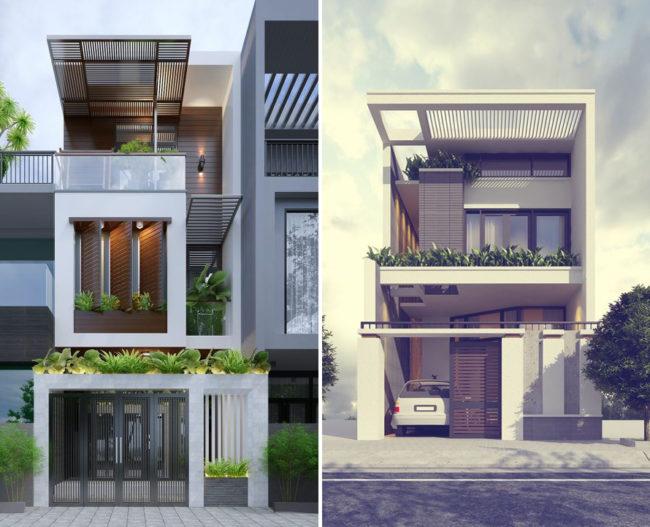 Một số hình ảnh tham khảo phối cảnh kiến trúc nhà ống 3 tầng , 4 tầng , 5 tầng hiện đại 3