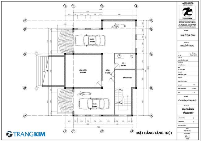 Mặt bằng thiết kế tầng hầm 1