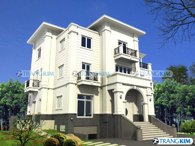 Hình phối cảnh thiết kế biệt thự tân cổđiển 3 tầng tại Hà Nội 2