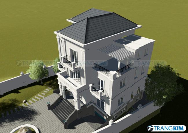 Hình phối cảnh thiết kế biệt thự tân cổđiển 3 tầng tại Hà Nội 3