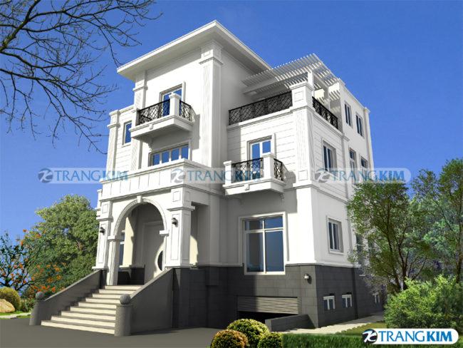 Hình phối cảnh thiết kế biệt thự tân cổđiển 3 tầng tại Hà Nội 1