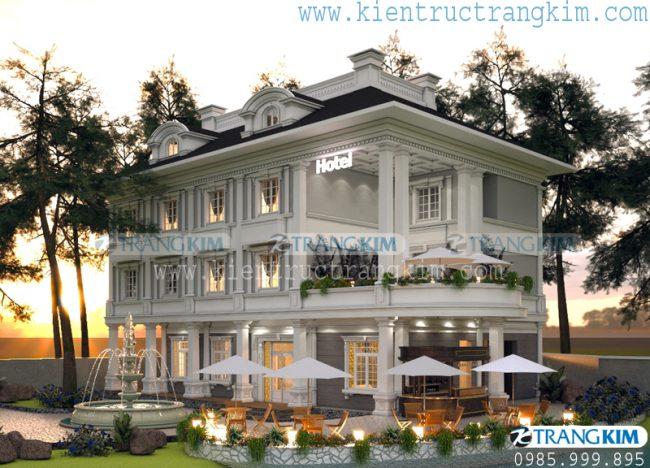 Hình ảnh phối cảnh thiết kế kiến trúc khách sạn mini tân cổ điển - Bắc Ninh 1