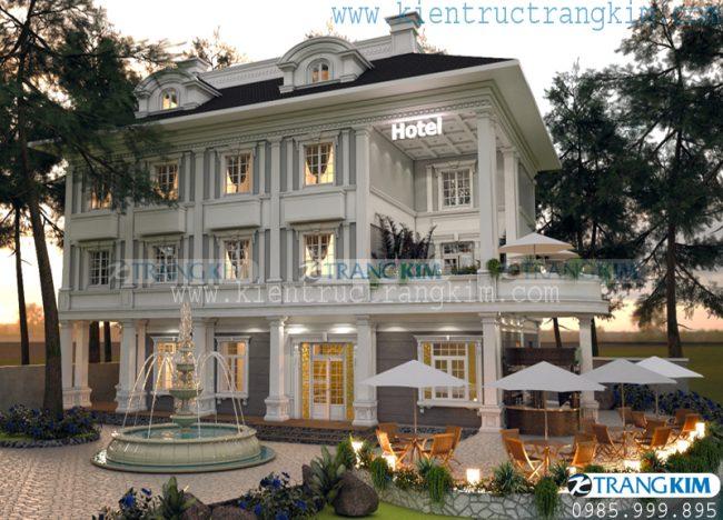 Hình ảnh phối cảnh thiết kế kiến trúc khách sạn mini tân cổ điển - Bắc Ninh 2