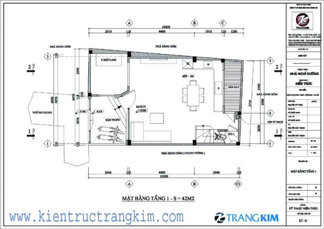 Bố trí mặt bằng kiên trúc nhà ở 3 tầngtại Khâm Thiên - Hà Nội 1