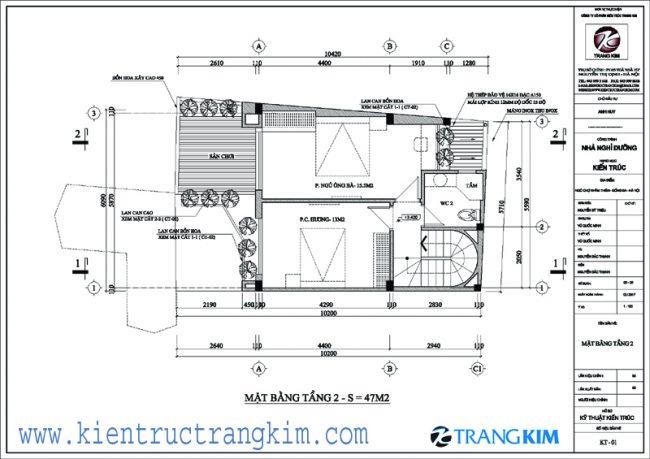 Bố trí mặt bằng kiên trúc nhà ở 3 tầngtại Khâm Thiên - Hà Nội 2