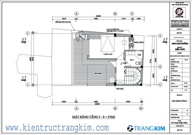 Bố trí mặt bằng kiên trúc nhà ở 3 tầngtại Khâm Thiên - Hà Nội 3