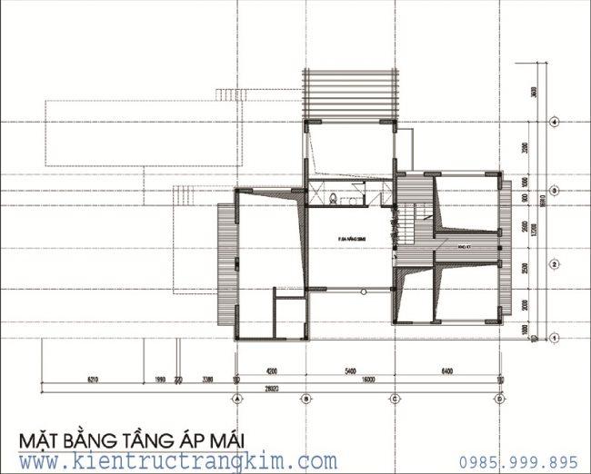 Phương án bố trí mặt bằngbiệt thự nghỉ dưỡng hiện đại 2 tầng 1 tum 4