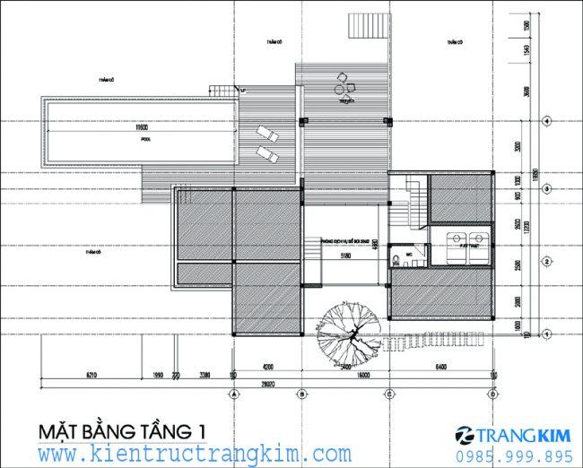 Phương án bố trí mặt bằngbiệt thự nghỉ dưỡng hiện đại 2 tầng 1 tum 1