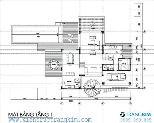 Phương án bố trí mặt bằngbiệt thự nghỉ dưỡng hiện đại 2 tầng 1 tum 2