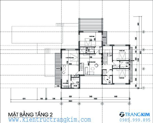 Phương án bố trí mặt bằngbiệt thự nghỉ dưỡng hiện đại 2 tầng 1 tum 3