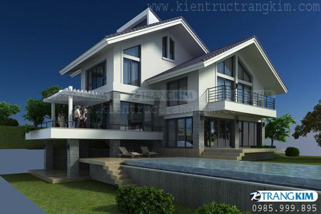 Thông tin về thiết kế kiến trúc biệt thự nghỉ dưỡng hiện đại 2 tầng 1 tum 1