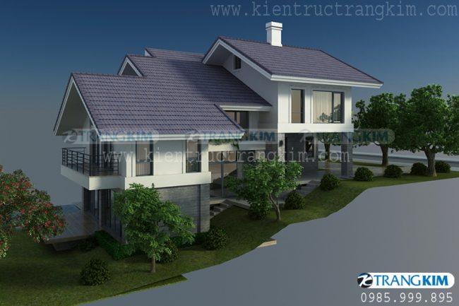 Hình ảnh phối cảnh thiết kếkiến trúc biệt thự nghỉ dưỡng hiện đại 2 tầng 1 tum 3