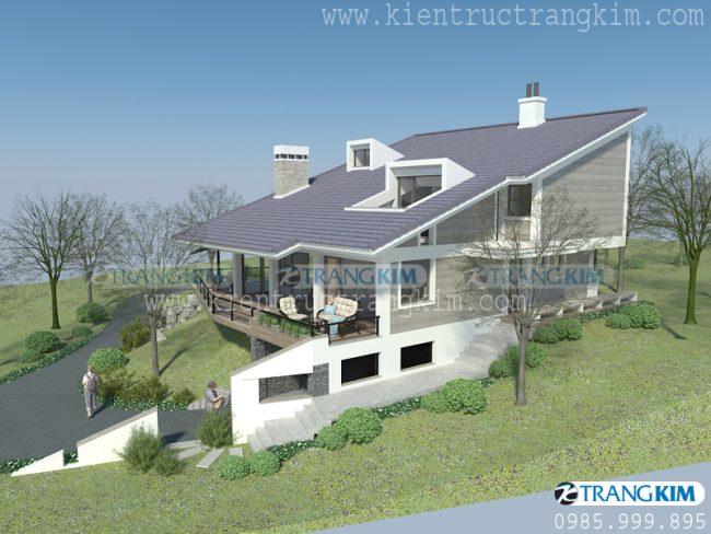 Thông tin về thiết kế kiến trúc biệt thự nghỉ dưỡng hiện đại 2 tầng tại Ba Vì - Hà Nội 1