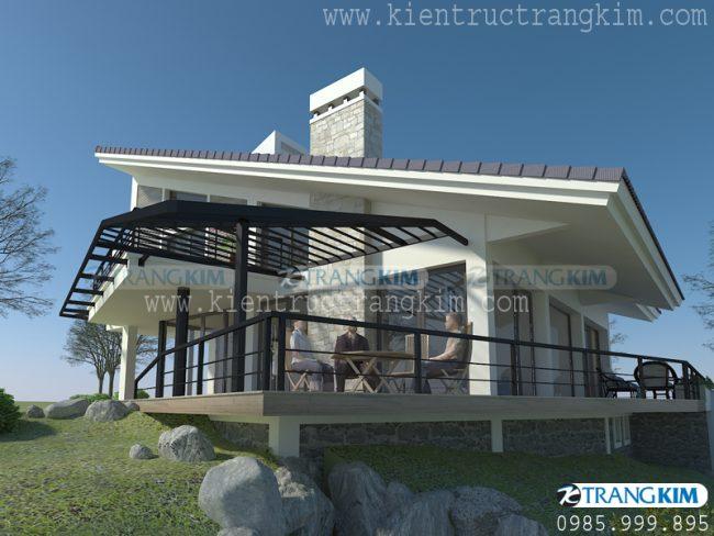 Hình ảnh thiết kế kiến trúc biệt thự nghỉ dưỡng hiện đại 2 tầng tại Ba Vì - Hà Nội 1