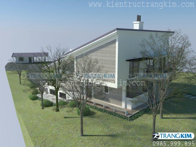 Hình ảnh thiết kế kiến trúc biệt thự nghỉ dưỡng hiện đại 2 tầng tại Ba Vì - Hà Nội 2