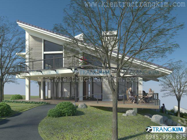 Hình ảnh thiết kế kiến trúc biệt thự nghỉ dưỡng hiện đại 2 tầng tại Ba Vì - Hà Nội 3