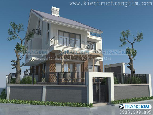 Phối cảnh thiết kế biệt thự hiện đại mái chéo 2 tầng 1 tum - Anh Long 1