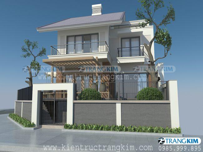 Phối cảnh thiết kế biệt thự hiện đại mái chéo 2 tầng 1 tum - Anh Long 2