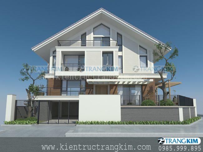 Phối cảnh thiết kế biệt thự hiện đại mái chéo 2 tầng 1 tum - Anh Long 3