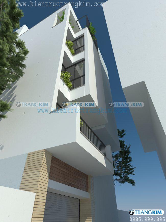 Hình ảnh phối cảnh thiết kế nhà ống 5 tầng 1 tum mặt tiện 3.5m tại Hà Nội 1