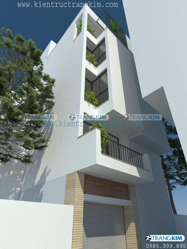 Hình ảnh phối cảnh thiết kế nhà ống 5 tầng 1 tum mặt tiện 3.5m tại Hà Nội 2