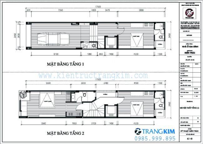 Mặt bằng thiết kế kiến trúc nhà ống 5 tầng 1 tum mặt tiền 3.5m tại Hà nội 2