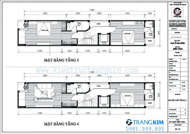 Mặt bằng thiết kế kiến trúc nhà ống 5 tầng 1 tum mặt tiền 3.5m tại Hà nội 3