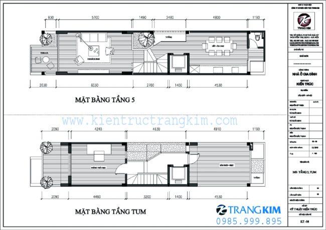 Mặt bằng thiết kế kiến trúc nhà ống 5 tầng 1 tum mặt tiền 3.5m tại Hà nội 4