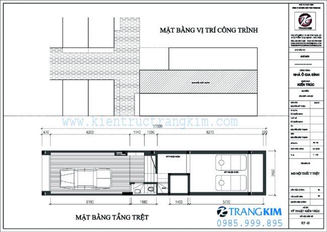 Mặt bằng thiết kế kiến trúc nhà ống 5 tầng 1 tum mặt tiền 3.5m tại Hà nội 1