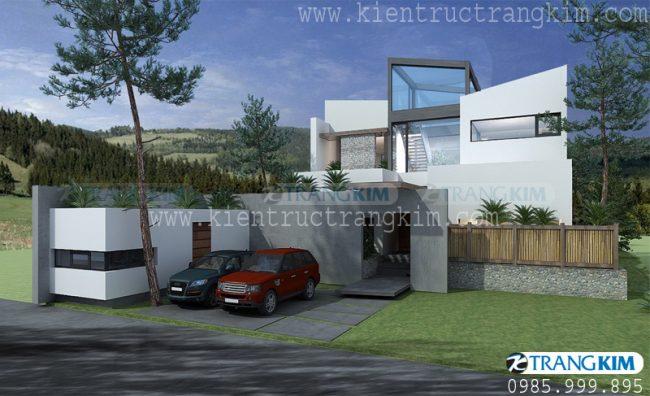 Phối cảnh biệt thự hiện đại 2 tầng mái bằng 3