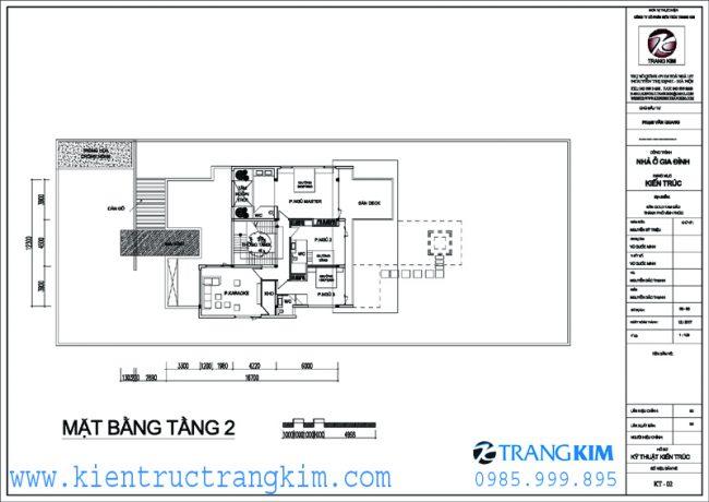 Mặt bằng thiết kế biệt thự nghỉ dưỡng hiện đại 2 tầng mái 2