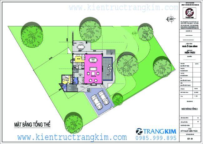 Mặt bằngcông năng củabiệt thự vườn mini hiện đại 1