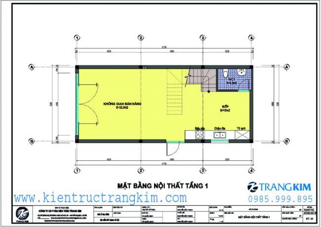 Mặt bằng thiết kế nhà ống 3 tầng mặt tiền 5m 1
