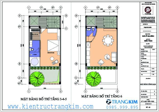 Mặt bằng công năng thiết kế nhà ống 5m hướng tây 2