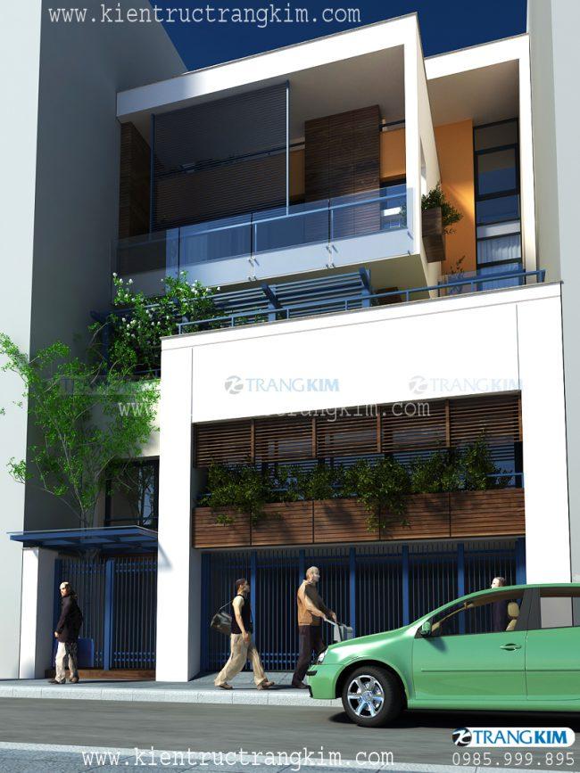 Phối cảnh biệt thự phố hiện đại 4 tầng 1 tum 1