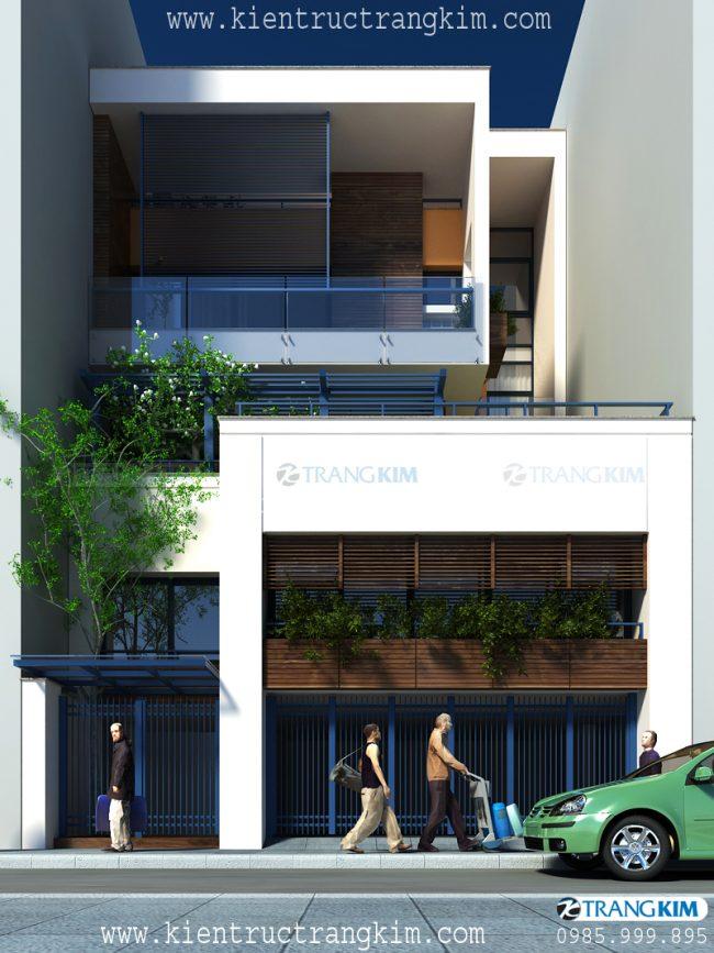 Phối cảnh biệt thự phố hiện đại 4 tầng 1 tum 2